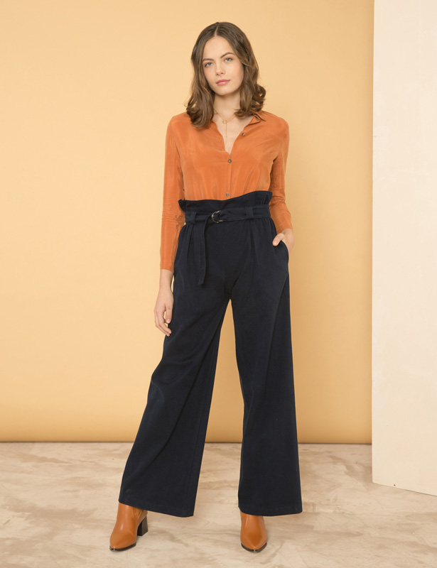 PROJECTION Trousers Blu Notte - SATISFACTION Shirt - Cinnamon RESET PRIORITY